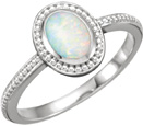 Beaded Opal Cabochon Ring in 14K White Gold