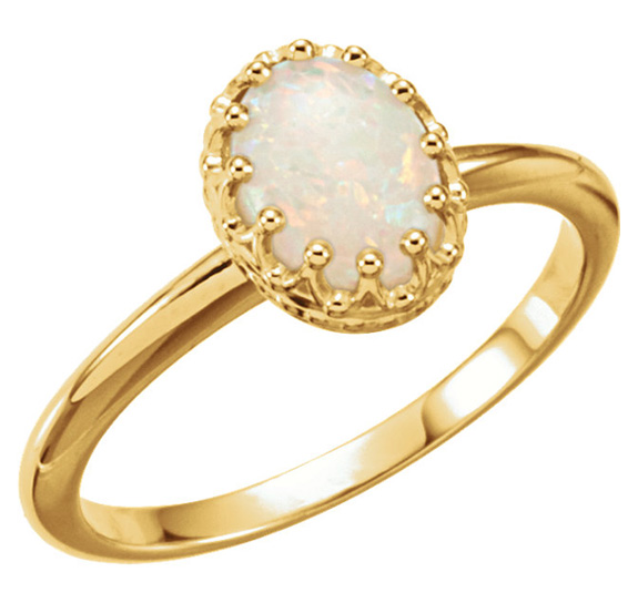 Crowned Jewels Australian Opal Ring, 14K Gold