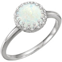 Genuine Australian Opal Ring, 14K White Gold