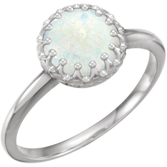 Genuine Australian Opal Ring, 14K White Gold
