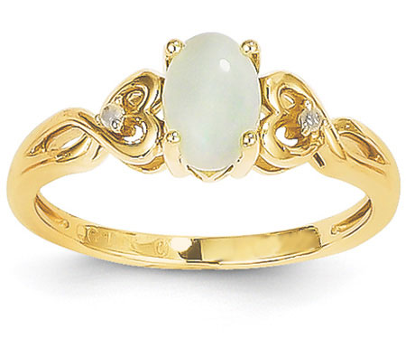 14K Yellow Gold Opal and Diamond Heart Ring