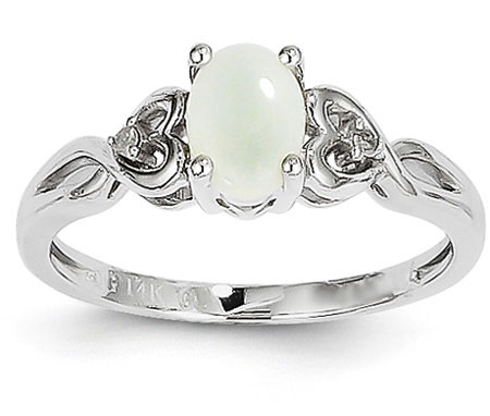 Opal and Diamond Heart Ring, 14K White Gold
