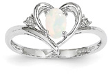 Genuine Opal Heart Ring, 14K White Gold