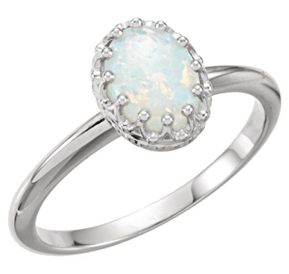 Oval White Australian Opal Ring