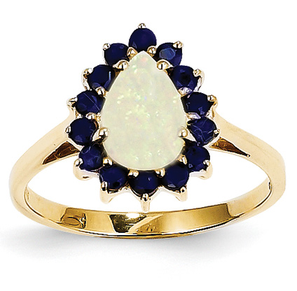 Pear-Shaped Opal and Sapphire Ring, 14K Gold