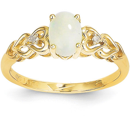 Real 14K Yellow Gold Opal and Diamond Heart Ring