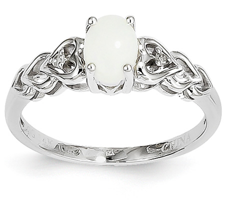 Real Opal and Diamond Heart Ring, 14K White Gold