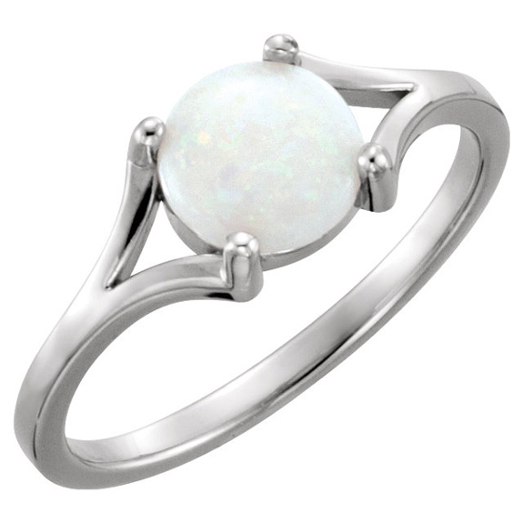 Round Australian Cabochon Opal Ring