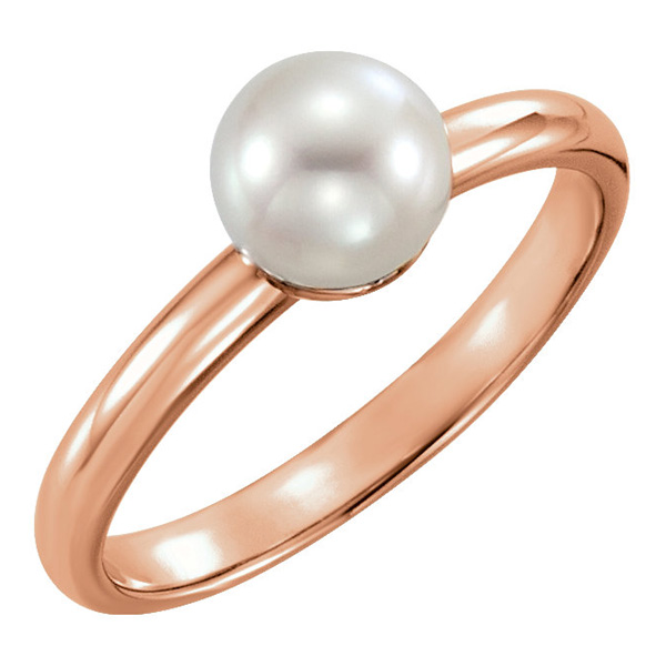 14K Rose Gold Freshwater Pearl Solitaire Ring