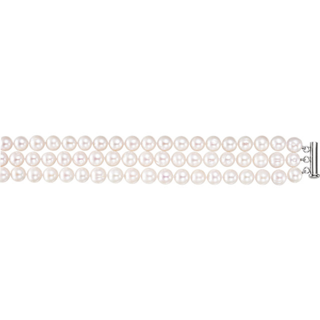 3-row freshwater cultured pearl necklace