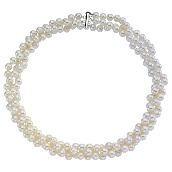 3-Row Freshwater Cultured Pearl Necklace in Silver