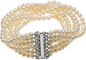 7-Strand Freshwater Cultured Pearl Bracelet, Silver