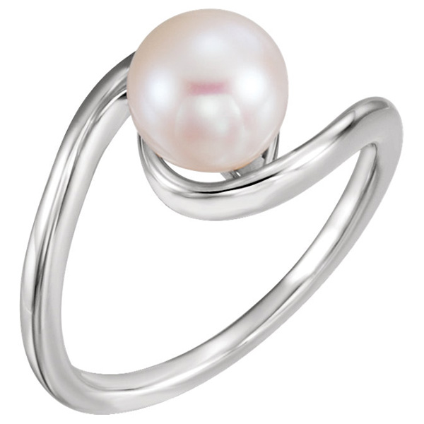 8mm Freshwater Pearl Freeform Ring, 14K White Gold