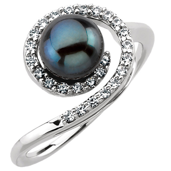 jewelpearl.com Black Akoya Pearl and Diamond Swirl Ring