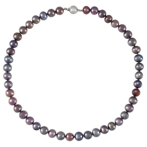 jewelpearl.com Black Freshwater Pearl Strand Necklace
