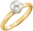 Cultured Freshwater Pearl Solitaire Ring, 14K Gold