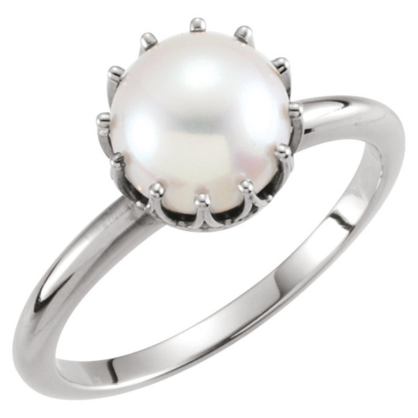 Freshwater Crown Pearl Ring in 14K White Gold