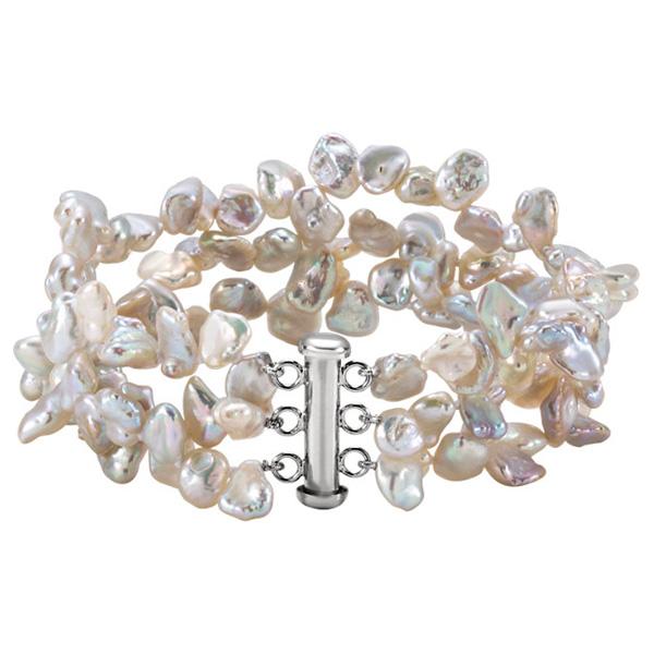 Freshwater Keshi Pearl Bracelet in Silver