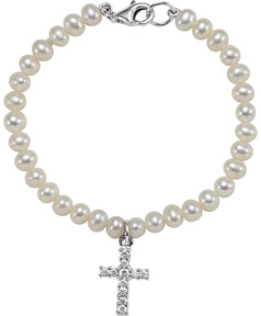 Freshwater Pearl and Cross Bracelet in Silver