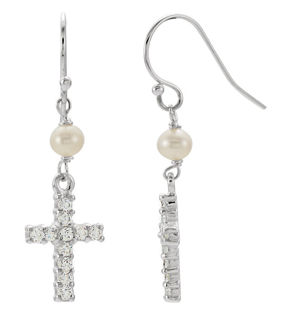 FRESHWATER PEARL AND CROSS CZ EARRINGS IN SILVER