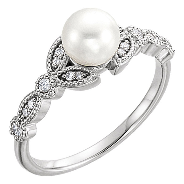 Freshwater Pearl and Diamond Leaf Ring