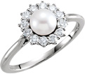 Freshwater Pearl and 1/3 Carat Diamond Halo Ring