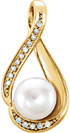 14K Gold Freshwater Pearl Diamond Pendant