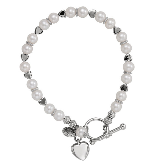 Heart and Freshwater Pearl Friendship Bracelet in Silver