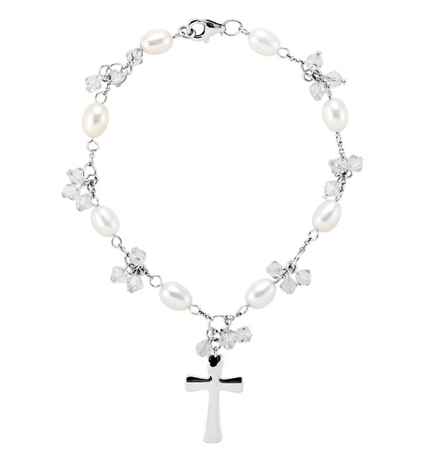 Pearl and Cross Bridesmaid Bracelet, Sterling Silver