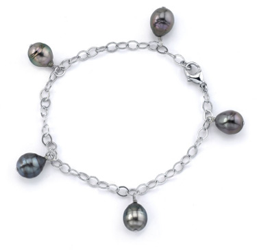 Buy 9mm Tahitian Multicolor Baroque Pearl Dangling Tincup Bracelet