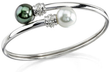 White Gold & Diamond South Sea Bangle Pearl Bracelet