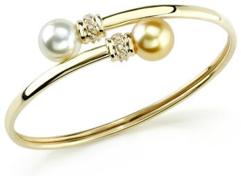 Buy Yellow Gold & Diamond South Sea Bangle Pearl Bracelet