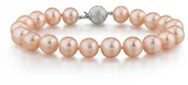 7-8mm Peach Freshwater Pearl Bracelet - AAAA Quality