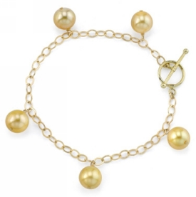 9-10mm Golden South Sea Pearl Dangling Tincup Bracelet