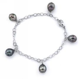 9mm Tahitian Multicolor Baroque Pearl Dangling Tincup Bracelet
