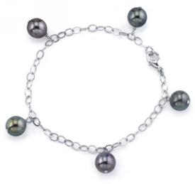 9-10mm Tahitian Multicolor Pearl Dangling Tincup Bracelet