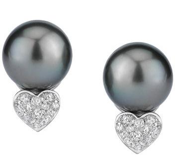 Tahitian Heart-Shape Diamond Earrings