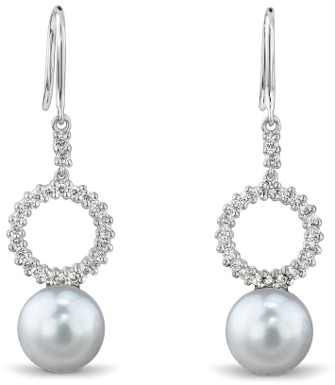 White South Sea Pearl and Diamond Halo Earrings