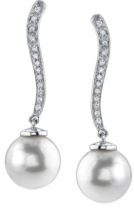South Sea Pearl & Diamond Celeste Earrings (Earrings, Apples of Gold)