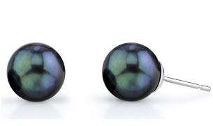 6.5-7.0mm Black Akoya Pearl Stud Earrings