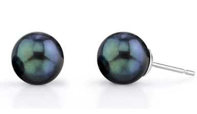 7.5-8.0mm Black Akoya Pearl Stud Earrings