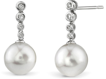 Buy Freshwater Pearl & Diamond Links Pearl Earrings