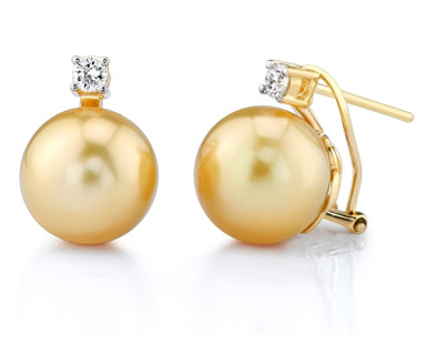 Golden South Sea Pearls Diamond Stud Leverbacks