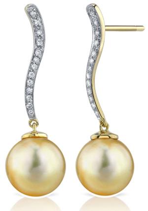 Buy Golden Pearl & Diamond Celeste Earrings