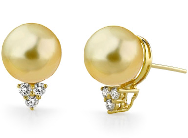 Golden Pearl & Diamond Sea Breeze Earrings