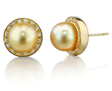 Buy Golden Pearl Diamond Pave Stud Earrings
