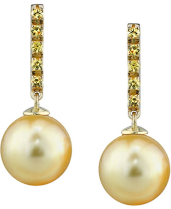 Golden Pearl and Sapphire Earrings
