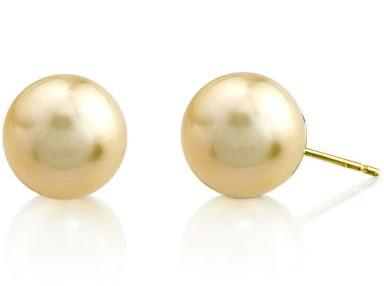 10mm Golden South Sea Pearl Stud Earrings