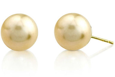 11mm Golden South Sea Pearl Stud Earrings (Earrings, Apples of Gold)