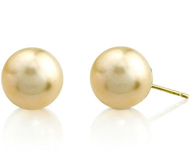 12mm Golden South Sea Pearl Stud Earrings